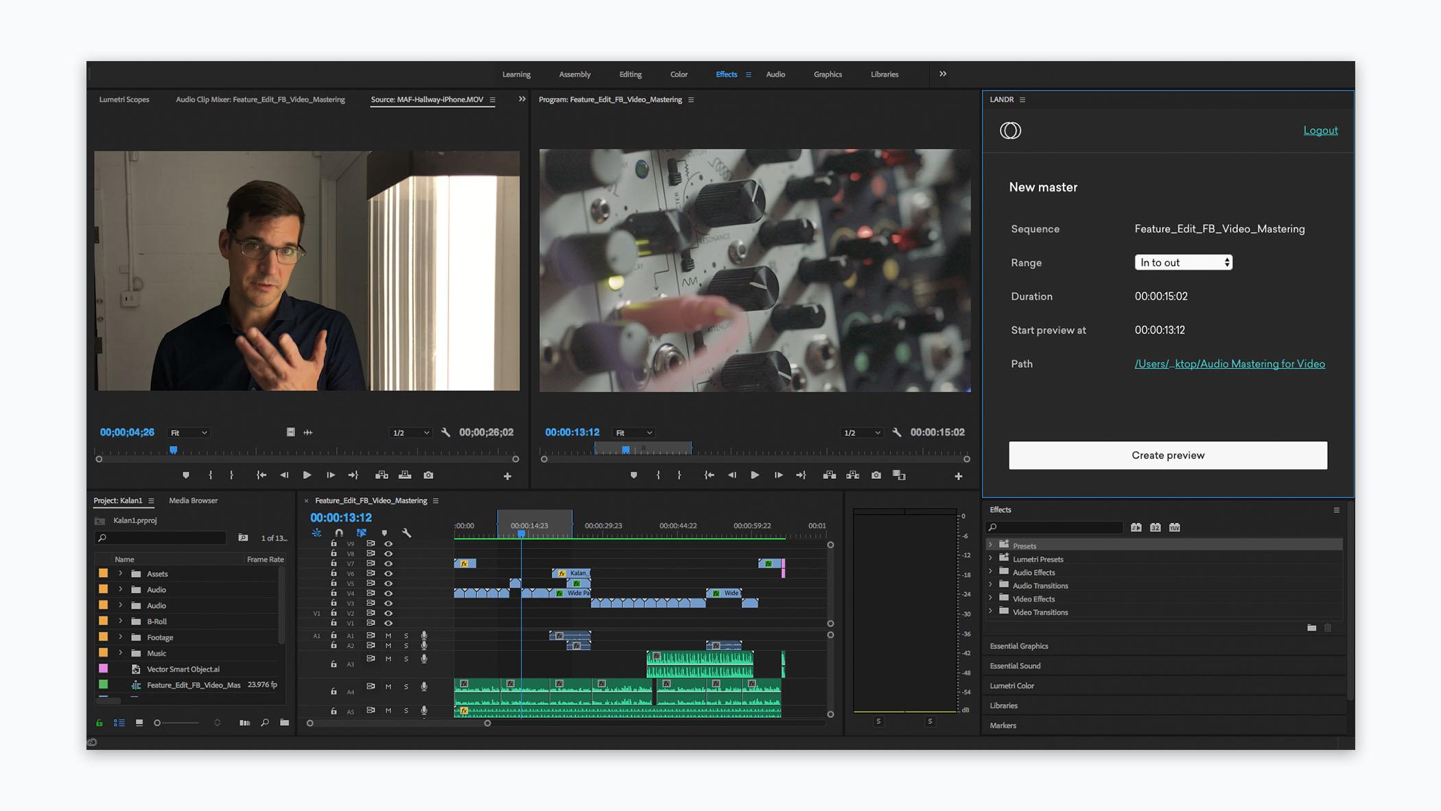 LANDR Audio Mastering for Video